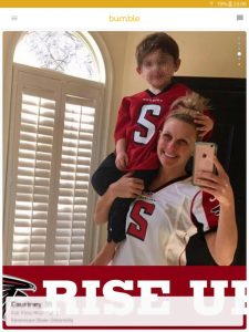 Example of a Bumble profile picture: mother and son Atlanta Falcons fans