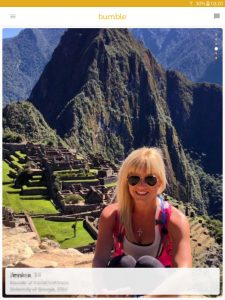 Example of a Bumble profile picture: blonde girl at Machu Picchu