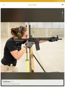Example of a Bumble profile picture: woman firing a rifle