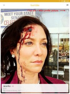 Example of a Bumble profile picture: woman with special-effects bullet wound in forehead