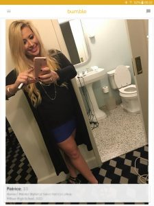 Example of a Bumble profile picture: selfie with toilet in background