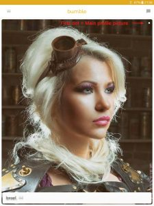 Example of a Bumble profile picture: girl in steampunk look