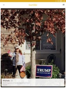 Example of a Bumble profile picture: woman with Trump-for-President sign