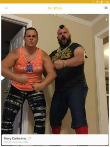 Example of a Bumble profile picture: wrestler couple